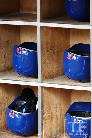 Oct 13, 2011; Detroit, MI, USA; Texas Rangers batting helmets prior to game five of the 2011 ALCS against the Detroit Tigers at Comerica Park. Mandatory Credit: Tim Fuller-US PRESSWIRE