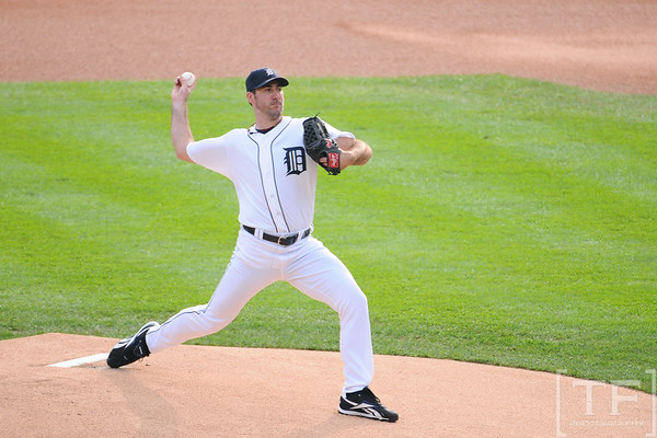 Oct 13, 2011; Detroit, MI, USA; Detroit Tigers starting pitcher Justin Verlander (35) pitches in the first inning against the Texas Rangers of game five of the 2011 ALCS at Comerica Park.  Mandatory Credit: Tim Fuller-US PRESSWIRE