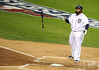 Oct 16, 2012; Detroit, MI, USA; Detroit Tigers first baseman Prince Fielder tosses his bat after drawing a walk in the 1st inning during game three of the 2012 ALCS against the New York Yankees at Comerica Park.  Mandatory Credit: Tim Fuller-USA TODAY Sports