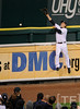 Oct 16, 2012; Detroit, MI, USA; Detroit Tigers outfielder Andy Dirks is unable to catch a ball hit for a home run by New York Yankees shortstop Eduardo Nunez (not pictured) in the 9th inning during game three of the 2012 ALCS at Comerica Park.  The Tigers won 2-1. Mandatory Credit: Tim Fuller-USA TODAY Sports