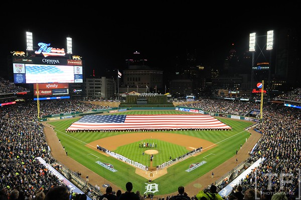 Oct 16, 2012; Detroit, MI, USA; A general view as a large American flag is unfurled during the playing of the national anthem before game three of the 2012 ALCS between the New York Yankees and Detroit Tigers at Comerica Park.  Mandatory Credit: Tim Fuller-USA TODAY Sports