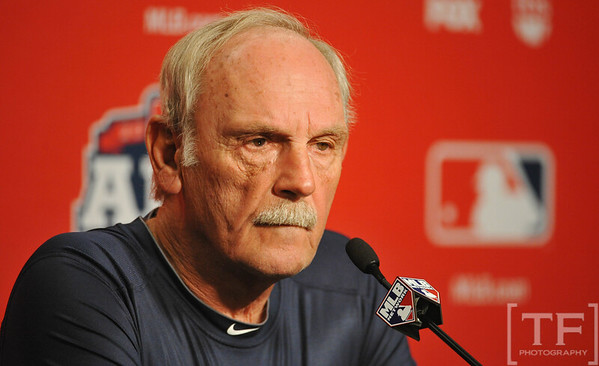 Oct 16, 2012; Detroit, MI, USA; Detroit Tigers manager Jim Leyland at a press conference before game three of the 2012 ALCS against the New York Yankees at Comerica Park.  Mandatory Credit: Tim Fuller-USA TODAY Sports