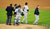 Oct 16, 2012; Detroit, MI, USA; New York Yankees starting pitcher Phil Hughes (65) walks off the field after suffering an apparent injury in the fourth inning during game three of the 2012 ALCS against the Detroit Tigers at Comerica Park.  Mandatory Credit: Tim Fuller-USA TODAY Sports