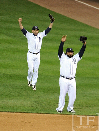 Oct 18, 2012; Detroit, MI, USA; Detroit Tigers first baseman Prince Fielder (right) and second baseman Omar Infante (left) celebrate after game four of the 2012 ALCS against the New York Yankees at Comerica Park.  The Tigers won 8-1 to sweep the series and advance to the World Series.  Mandatory Credit: Tim Fuller-USA TODAY Sports