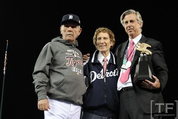 Oct 18, 2012; Detroit, MI, USA; Detroit Tigers manager Jim Leyland (left) , owner Mike Ilitch (middle), and general manager Dave Dombrowski pose with the American League championship trophy after game four of the 2012 ALCS against the New York Yankees at Comerica Park.  The Tigers won 8-1 to sweep the series and advance to the World Series.  Mandatory Credit: Tim Fuller-USA TODAY Sports