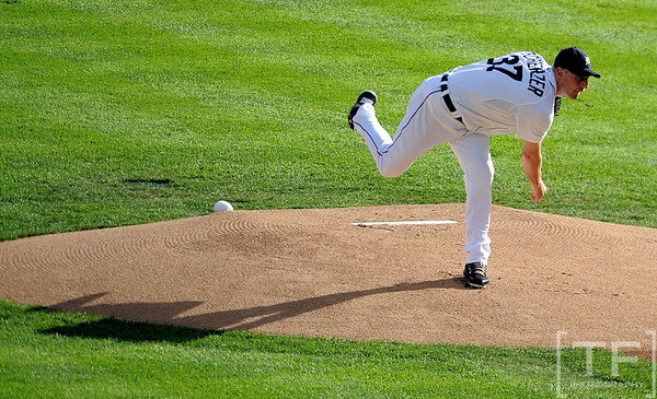 Oct 18, 2012; Detroit, MI, USA; Detroit Tigers starting pitcher Max Scherzer throws a pitch against the New York Yankees in the first inning during game four of the 2012 ALCS at Comerica Park.   Mandatory Credit: Tim Fuller-USA TODAY Sports
