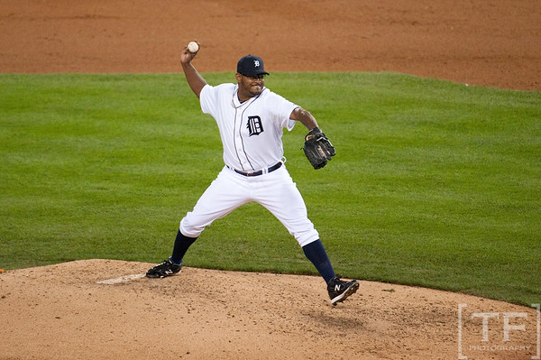 Oct 6, 2012; Detroit, MI, USA; Detroit Tigers relief pitcher Jose Valverde (46)delivers a pitch during the ninth inning of game one of the 2012 ALDS against the Oakland Athletics at Comerica Park.  Detroit won 3-1. Mandatory Credit: Tim Fuller-US PRESSWIRE