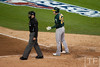 Oct 6, 2012; Detroit, MI, USA; Oakland Athletics third baseman Josh Donaldson (20) argues a call with home plate umpire Jim Reynolds during the sixth inning of game one of the 2012 ALDS against the Detroit Tigers at Comerica Park.  Mandatory Credit: Tim Fuller-US PRESSWIRE