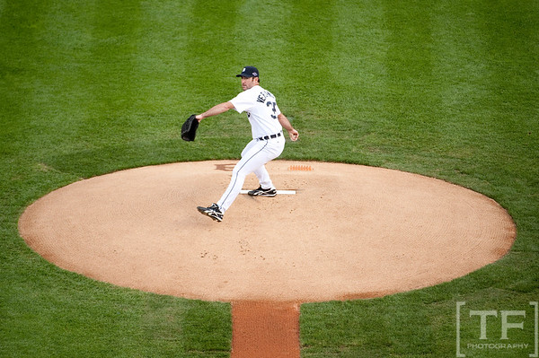 Oct 6, 2012; Detroit, MI, USA; Detroit Tigers starting pitcher Justin Verlander (35) delivers a pitch during the first inning of game one of the 2012 ALDS against the Oakland Athletics at Comerica Park.  Mandatory Credit: Tim Fuller-US PRESSWIRE