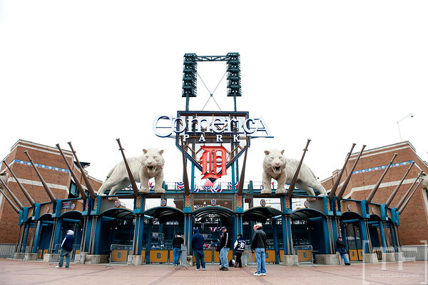 Oct 6, 2012; Detroit, MI, USA; A general view of the entrance for Comerica Park before game one of the 2012 ALDS between the Detroit Tigers and the Oakland Athletics.  Mandatory Credit: Tim Fuller-US PRESSWIRE