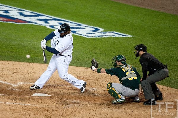 Oct 6, 2012; Detroit, MI, USA; Detroit Tigers first baseman Prince Fielder (28) hits out to shortstop during the sixth inning of game one of the 2012 ALDS against the Oakland Athletics at Comerica Park.  Mandatory Credit: Tim Fuller-US PRESSWIRE