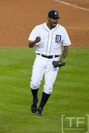 Oct 6, 2012; Detroit, MI, USA; Detroit Tigers relief pitcher Jose Valverde (46) celebrates after defeating the Oakland Athletics 3-1 during game one of the 2012 ALDS at Comerica Park. Mandatory Credit: Tim Fuller-US PRESSWIRE