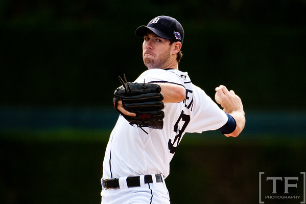 Oct 7, 2012; Detroit, MI, USA; Detroit Tigers starting pitcher Doug Fister (58) delivers a pitch during the second inning of game two of the 2012 ALDS against the Oakland Athletics at Comerica Park.  Mandatory Credit: Tim Fuller-US PRESSWIRE