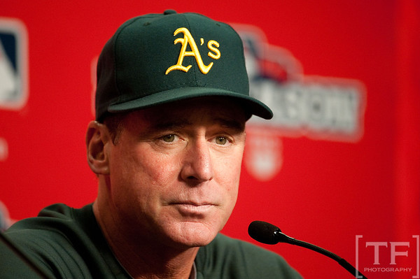 Oct 7, 2012; Detroit, MI, USA; Oakland Athletics manager Bob Melvin (6) talks to the media before game two of the 2012 ALDS against the Detroit Tigers at Comerica Park.  Mandatory Credit: Tim Fuller-US PRESSWIRE
