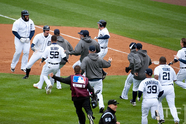 Oct 7, 2012; Detroit, MI, USA; Detroit Tigers right fielder Don Kelly (second from left) celebrate with teammates after defeating the Oakland Athletics 5-4 in game two of the 2012 ALDS at Comerica Park.  Mandatory Credit: Tim Fuller-US PRESSWIRE