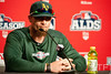Oct 7, 2012; Detroit, MI, USA; Oakland Athletics designated hitter Jonny Gomes (31) talks to the media before game two of the 2012 ALDS against the Detroit Tigers at Comerica Park.  Mandatory Credit: Tim Fuller-US PRESSWIRE