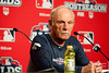 Oct 7, 2012; Detroit, MI, USA; Detroit Tigers manager Jim Leyland (10) talks to the media before game two of the 2012 ALDS against the Oakland Athletics at Comerica Park.  Mandatory Credit: Tim Fuller-US PRESSWIRE