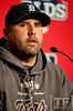 Oct 7, 2012; Detroit, MI, USA; Detroit Tigers catcher Gerald Laird (9) talks to the media before game two of the 2012 ALDS against the Oakland Athletics at Comerica Park.  Mandatory Credit: Tim Fuller-US PRESSWIRE