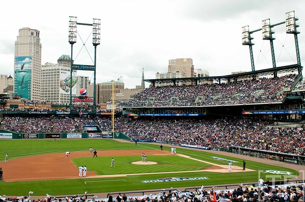 Oct 7, 2012; Detroit, MI, USA; A general view of Comerica Park during game two of the 2012 ALDS between the Detroit Tigers and the Oakland Athletics at Comerica Park.  Mandatory Credit: Tim Fuller-US PRESSWIRE