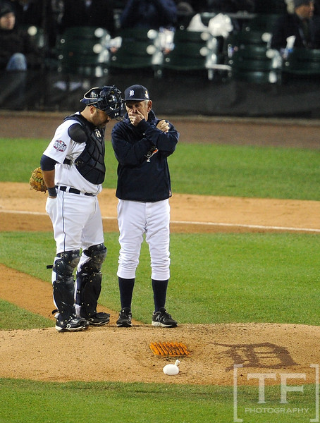 Oct 28, 2012; Detroit, MI, USA; Detroit Tigers catcher Gerald Laird (left) stands with manager Jim Leyland during a pitching change in the 7th inning during game four of the 2012 World Series against the San Francisco Giants at Comerica Park.  Mandatory Credit: Tim Fuller-USA TODAY Sports