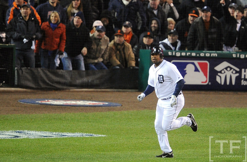 Oct 28, 2012; Detroit, MI, USA; Detroit Tigers designated hitter Delmon Young watches the flight of his solo home run against the San Francisco Giants in the sixth inning during game four of the 2012 World Series at Comerica Park.  Mandatory Credit: Tim Fuller-USA TODAY Sports
