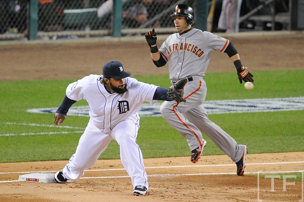 Oct 27, 2012; Detroit, MI, USA; Detroit Tigers first baseman Prince Fielder (28) makes an out at first base during the first inning of game three of the 2012 World Series against San Francisco Giants at Comerica Park.  Mandatory Credit: Tim Fuller-USA TODAY Sports