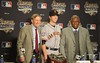 Oct 27, 2012; Detroit, MI, USA; San Francisco Giants catcher Buster Posey (middle) poses with MLB commissioner Bud Selig (left) and Hank Aaron (right) before game three of the 2012 World Series at Comerica Park.  Mandatory Credit: Tim Fuller-USA TODAY Sports