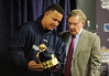 Oct 27, 2012; Detroit, MI, USA; Detroit Tigers third baseman Miguel Cabrera (left) is presented with a triple crown trophy by MLB commissioner Bud Selig before game three of the 2012 World Series against the San Francisco Giants at Comerica Park.  Mandatory Credit: Tim Fuller-USA TODAY Sports