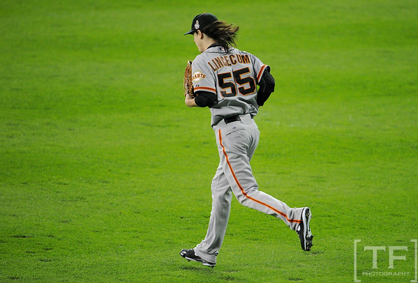 Oct 27, 2012; Detroit, MI, USA; San Francisco Giants pitcher Tim Lincecum jogs in from the bullpen in the 6th inning during game three of the 2012 World Series against the Detroit Tigers at Comerica Park.  Mandatory Credit: Tim Fuller-USA TODAY Sports