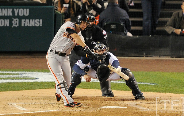 Oct 27, 2012; Detroit, MI, USA; San Francisco Giants outfielder Gregor Blanco hits a RBI triple against the Detroit Tigers in the second inning during game three of the 2012 World Series at Comerica Park.  Mandatory Credit: Tim Fuller-USA TODAY Sports