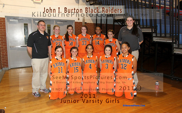 "If you purchase this picture, the words in Orange and Black will stay. The top says, ""John I Burton Black Raiders"", and the bottom, says ""2011 Junior Varsity Girls""., The name of KilbournePhoto WILL NOT be on the purchased picture."