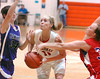 #11, Casey Ryans, from Cherokee High School finds herself double teamed during the Tennessee-Virginia 2011 Senior All-Star Classic. Photo by ned Jilton II