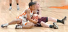 Burton's #21, Jazz Hill, and Galax's #22, Haley Reynolds, fight for the ball near mid-court. Photo by Ned Jilton II