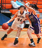 Happy Valley's #41, Olivia Eaton, drives against Twin Valley's #34, Katie Jo Lester, during FCA 2011 Senior All-Star Classic. Photo by ned Jilton II