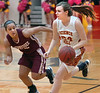 Science Hill's #24, Morgan Knack, brings ball up court against TN. High's #22, Ashlee Mitchell. Photo by Ned Jilton II