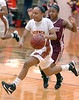 Science Hill's #10, Tianna Tarter, out runs a TN High defender bringing the ball up court. Photo by Ned JIlton II