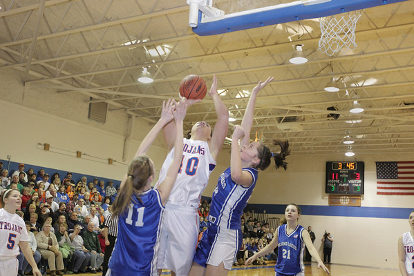 Record-Eagle/Keith King <br /> Central Lake's Jasmine Hines scores her record-breaking basket against Inland Lakes Tuesday, February 15, 2011 at Central Lake High School.