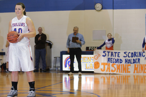 Record-Eagle/Keith King <br /> Jasmine Hines poses for photos after breaking the girls basketball state scoring record against Inland Lakes Tuesday, February 15, 2011 at Central Lake High School.