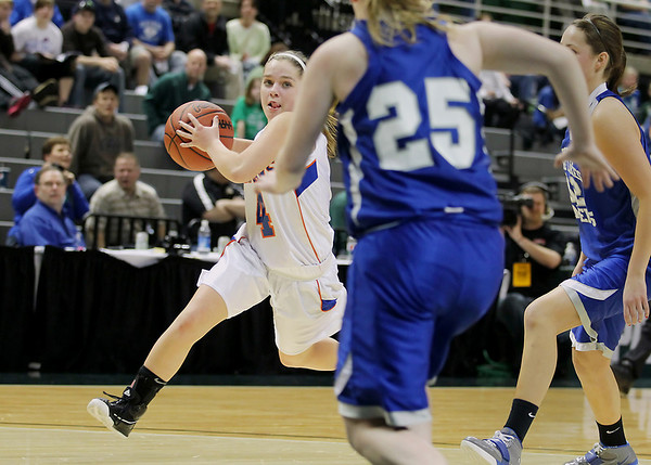 Record-Eagle/Keith King<br /> Central Lake's Lauren Rogers drives to the basket against Waterford Our Lady of the Lakes Thursday, March 17, 2011 during the Class D state semifinal game in East Lansing.