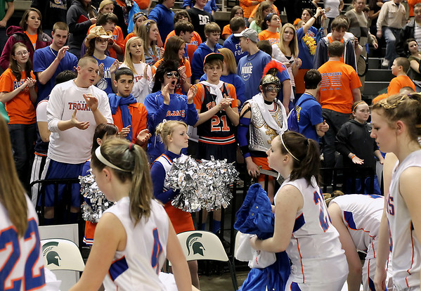 Record-Eagle/Keith King<br /> Central Lake fans cheer for the girls as they walk off the court after being defeated by Waterford Our Lady of the Lakes Thursday, March 17, 2011 during the Class D state semifinal game in East Lansing.