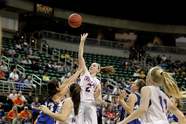 Record-Eagle/Keith King<br /> Central Lake's Heidi Hicks shoots the ball against Waterford Our Lady of the Lakes Thursday, March 17, 2011 during the Class D state semifinal game in East Lansing.