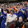 Record-Eagle/Keith King<br /> Central Lake girls basketball team fans cheer prior to their game against Waterford Our Lady of the Lakes Thursday, March 17, 2011 during the Class D state semifinal game in East Lansing.