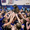 Record-Eagle/Keith King<br /> The Kalkaska girls varsity basketball team celebrates after defeating Johannesburg-Lewiston for the Class C regional championship Thursday, March 10, 2011 in Kalkaska.