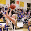 Record-Eagle/Keith King<br /> Traverse City St. Francis' Keller Greiner goes up for a shot against Kalkaska Wednesday, March 2, 2011 at Glen Lake High School. Kalkaska won 49-37.