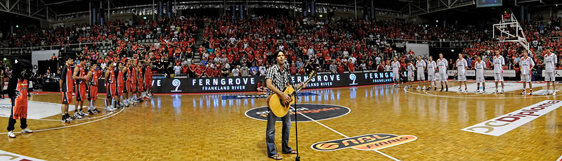 Wildcats vs Hawkes Grand Final Game 1. Cam James singing the Australian National Anthem.