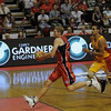 Shaun Redhage in full flight with eyes only for the basket ...