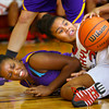 12-13-13   ---  Northwestern HS vs Taylor HS Girls Basketball<br /> Scrambling for the ball are Beza Townsend and Taylor's Rayven Johnson<br />   KT photo | Tim Bath