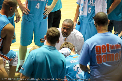 "Blaze Head Coach Joey Wright gives his boys ""a spray"". - Gold Coast Blaze v Perth Wildcats NBL Baskeball, New Year's Eve 2010; Gold Coast Convention & Exhibition Centre."