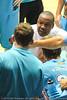 "Blaze Head Coach Joey Wright gives his boys ""a spray"". - Gold Coast Blaze v Perth Wildcats NBL Baskeball, New Year's Eve 2010; Gold Coast Convention & Exhibition Centre."