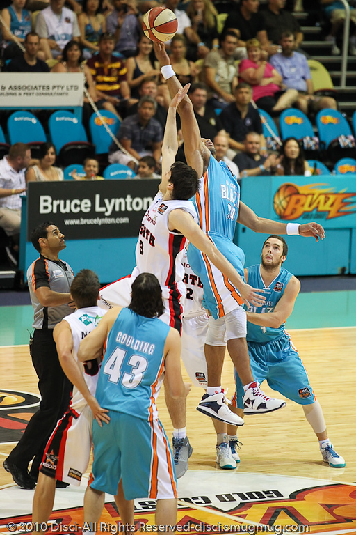 Jump Ball: Ira Clark v Stephen Weigh - Gold Coast Blaze v Perth Wildcats NBL Baskeball, New Year's Eve 2010; Gold Coast Convention & Exhibition Centre.